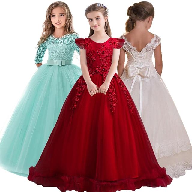 4-14Y תחרה בני נוער ילדים בנות חתונה ארוך שמלה אלגנטית נסיכת המפלגה תחרות חג המולד פורמליות שרוולים שמלת בגדים