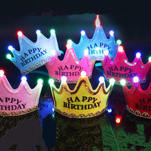LED Luminous Happy Birthday Party Hats Cute King Cap Princess Crown Baby Shower Decorative Supplies Boy Girl Gifts(China)