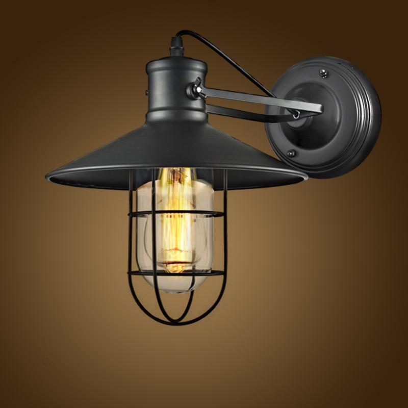 High Quality Vintage Wall Lamp E27 Base Loft Industrial Lighting Wrought Iron Wall Sconces LED Indoor Lighting Lampara Pared black wall lights bedside lamp high quality sconces lamp indoor lighting wall lamps industrial sconce modern de la pared lampada