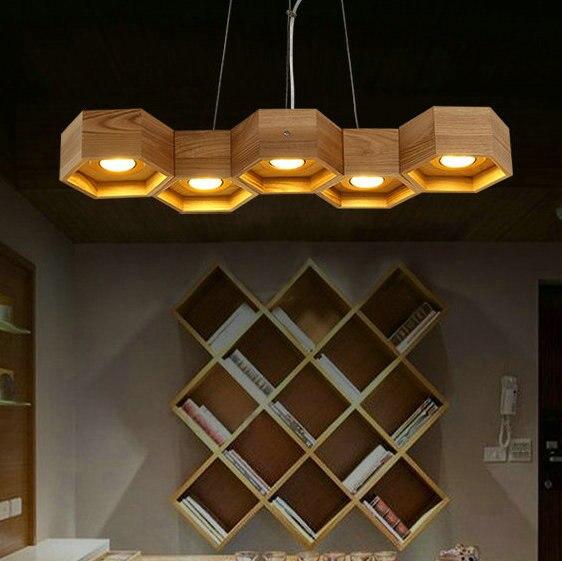 5 Light Wood Vintage Modern Pendant Chandelier Res De Led Lamparas Para Sala Free Shipping