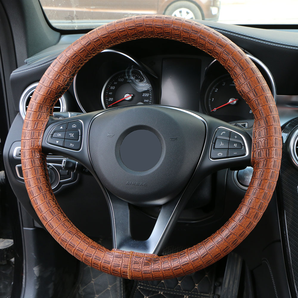 Image 2 - Synthetic Leather DIY Wrap Steering Wheel Cover/Artificial Crocodile Skin Steering Grip Collar protection Automotive Interior-in Steering Covers from Automobiles & Motorcycles