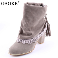 2017 Fashion Women Boots Sued Leather Round Toe Ankle Boots Sexy Lace Ladies 7cm High Heels