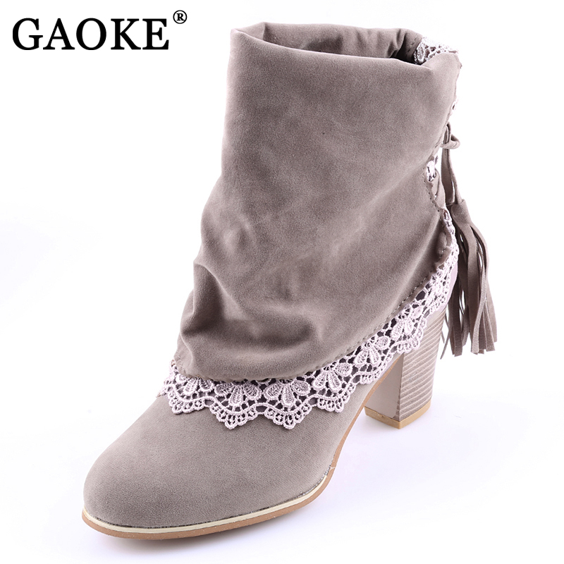 2017 Fashion Women Boots Sued Leather Round Toe Ankle Boots Sexy Lace Ladies 7cm High Heels Tassel Shoes Woman Winter cuculus 2018 women boots fashion pu leather round toe ankle boots sexy lace ladies high heels platform shoes woman 331