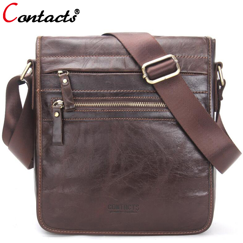 CONTACT'S Genuine Leather Bag Men Messenger Bags Large Capacity Business Male Crossbody Bags Designer Travel Men Bag Leather augus 100% genuine leather laptop bag fashional and classic crossbody bags leather for men large capacity leather bag 7185a
