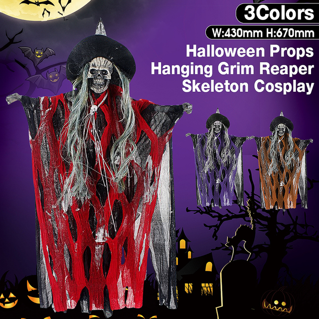 Halloween Grim Reaper Skeleton Cosplay Hooded Cloak Robe Apparel with Electric Voice and LED Light Glowing Red Eyes Decoration