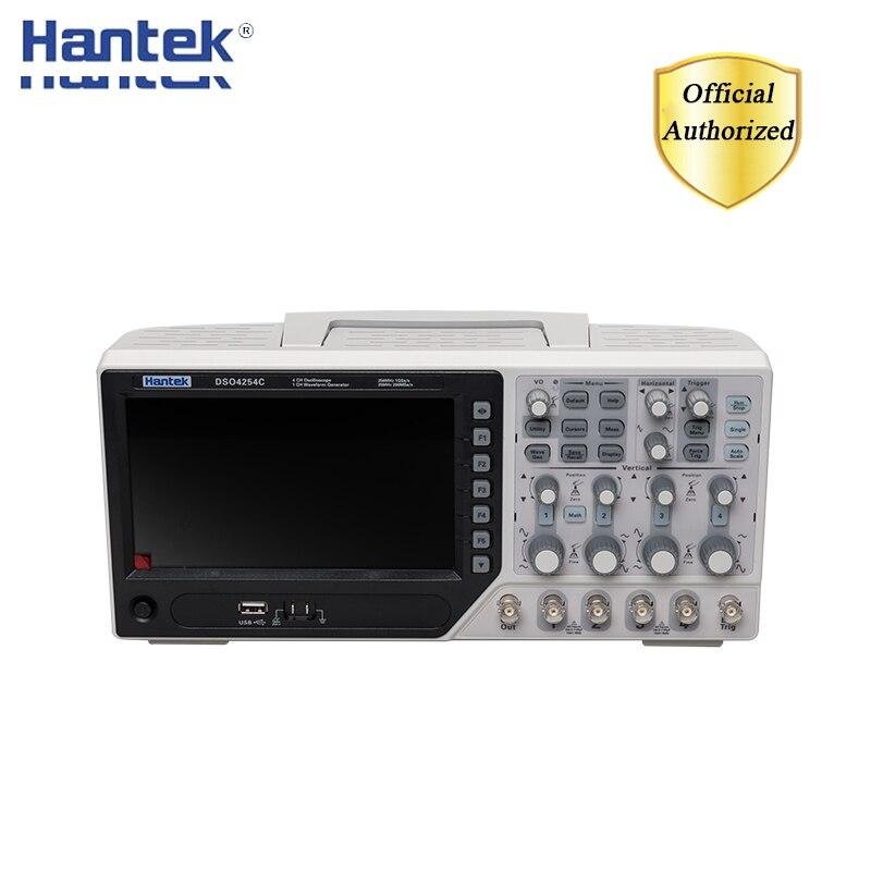 Hantek dso4254c osciloscópio de armazenamento digital 4 canais 250 mhz lcd usb portátil osciloscópios + ext dvm função de faixa automática