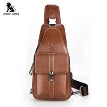 حقيبة كروس رجالي من الجلد الأصلي من LAOSHIZI LUOSEN بعلامة تجارية شهيرة حمالة صدر مزودة بمنفذ USB حقائب ساعي البريد موضة جديدة 2018