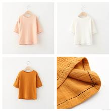 New Kids Girls Candy Color Cotton Tops Half Sleeve Western Fall Winter Blouse Orange Pink and White Tops