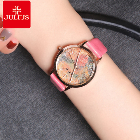 Julius Multicolor Starry Sky Big Dial Waterproof Quartz Watches Woman Casual Leather Student Wristwatches Montre Femme Gifts Lahore