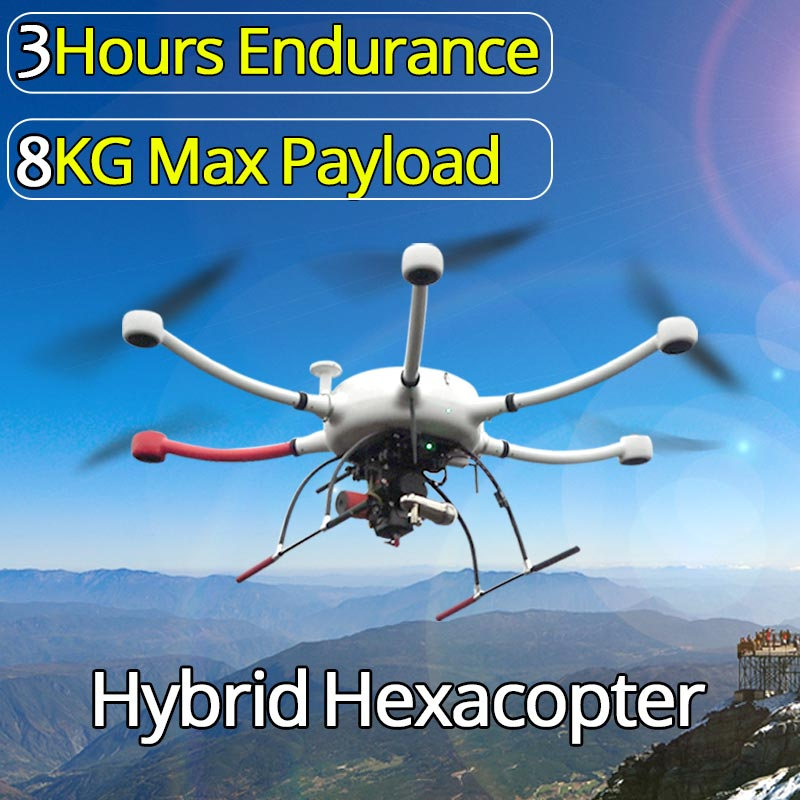 Hybrid Drone 3hours Endurance And 8kg Take Off Uav For Inspection Security And Surveillance