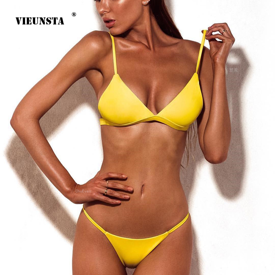 VIEUNSTA Sexy Solid Top Thong Micro Bikini Push Up Swimsuit Brazilian Bikinis Set Bathing Suit Beach Maillot De Bain Monokini minimal coverage sunbathing micro bikini teardrop mini g string 2piece bikinis thong