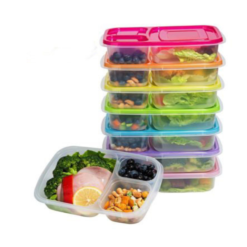 2019 New  Lunch Box Independent Lattice Meal Prep Food Containers Childrens Plastic Lunch Box Lids Reusable Microwavable