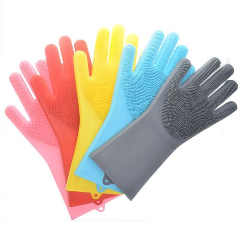 1 Uds. Guantes mágicos para lavar platos guantes de limpieza de silicona con cepillos guantes de esponja de goma para cocina hogar