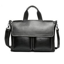hot deal buy new  fashion man handbag business men's genuine large leather briefcases luxury brand mens shoulder bag for laptop computer bag