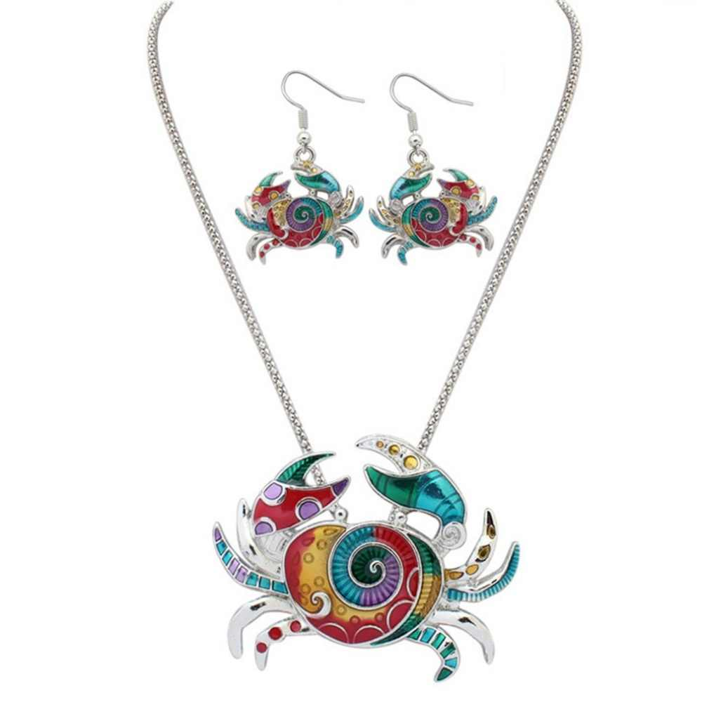 Stylish Colorful Enamel Crab Women's Necklace + Earings Set Suitable For Any Holiday And Any Party A Gift For Valentine Day