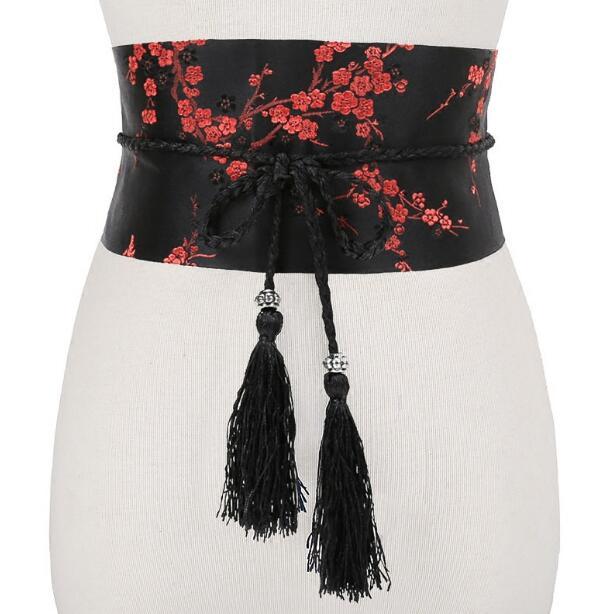 Women's Runway Fashion Vintage Embroidery Cummerbunds Female Dress Coat Corsets Waistband Belts Decoration Wide Belt R1186