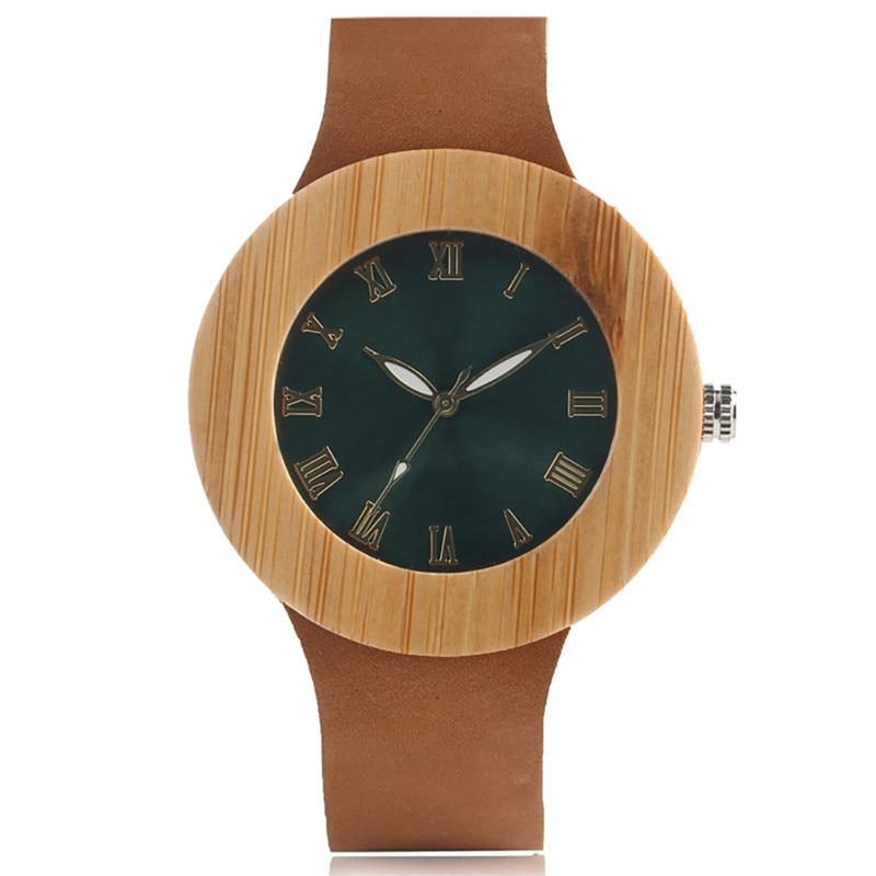 Green Face Novel Creative Wood Watch Analog Women Gift Äkta Läder Band Band Roman Nummer Bamboo Wooden Quartz Watch