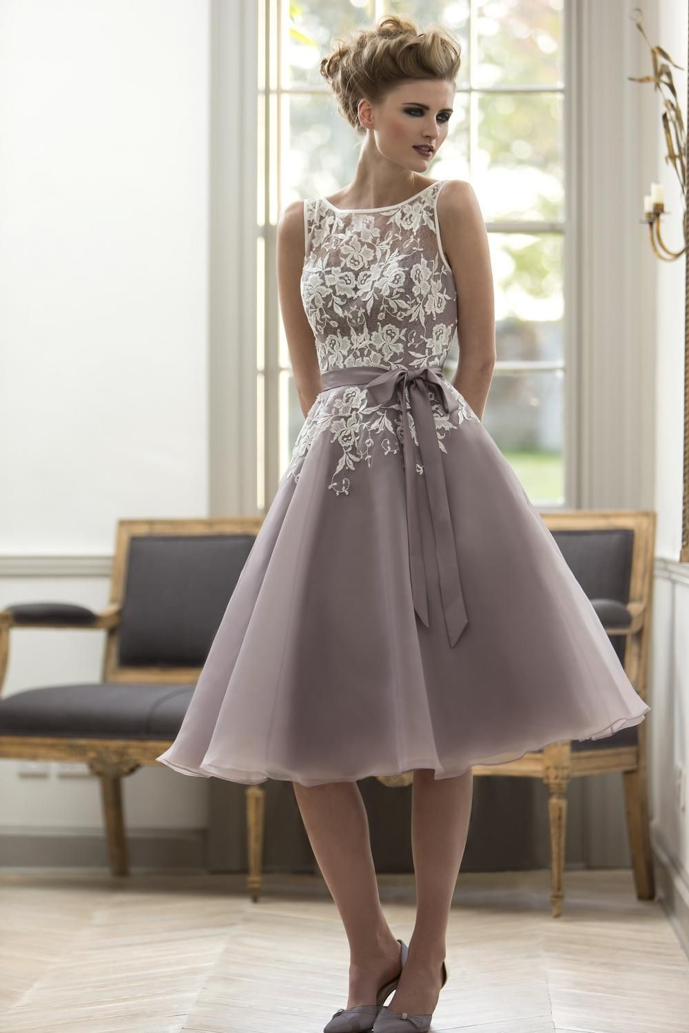 Online get cheap bow lace bridesmaid dresses aliexpress pale mauve real sample lace applique bow belt knee length sleeves bridesmaid dresses long maid of ombrellifo Choice Image