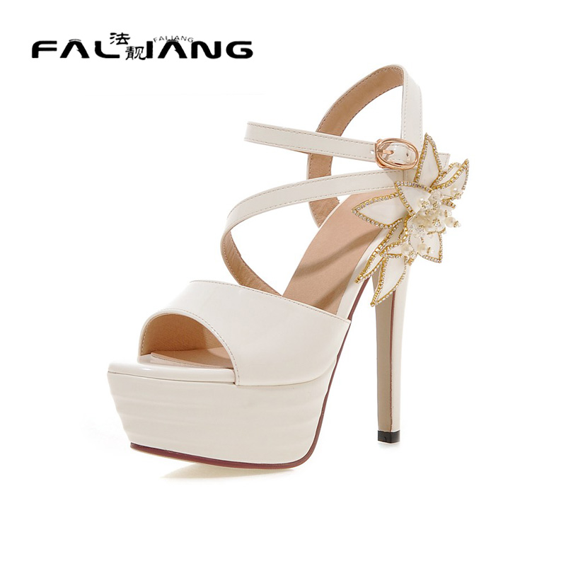 ФОТО Big Size 11 12 Elegant Flower Buckle Casual Thin Heels Women's Shoes Extreme High Heels Sandals Woman For Women Platform Shoes