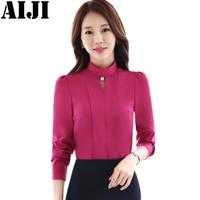 Women O Neck Elegant Chiffon Shirts Office Work Long Sleeve Slim Blouse Ladies Casual Tops Blusas