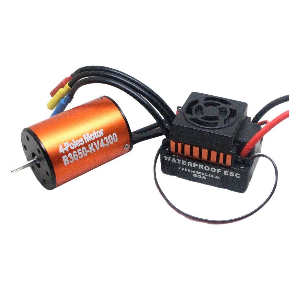 HIINST Waterproof B3650 4300KV Brushless Motor w/ 60A ESC Combo Set for 1/10 RC Car L824