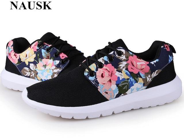 6abd82a65ac7 NAUSK Fashion Women Trainers Breathable Print Flower 90 Casual Shoes Woman  2018 Summer Mesh Low Top Shoes Zapatillas Deportivas