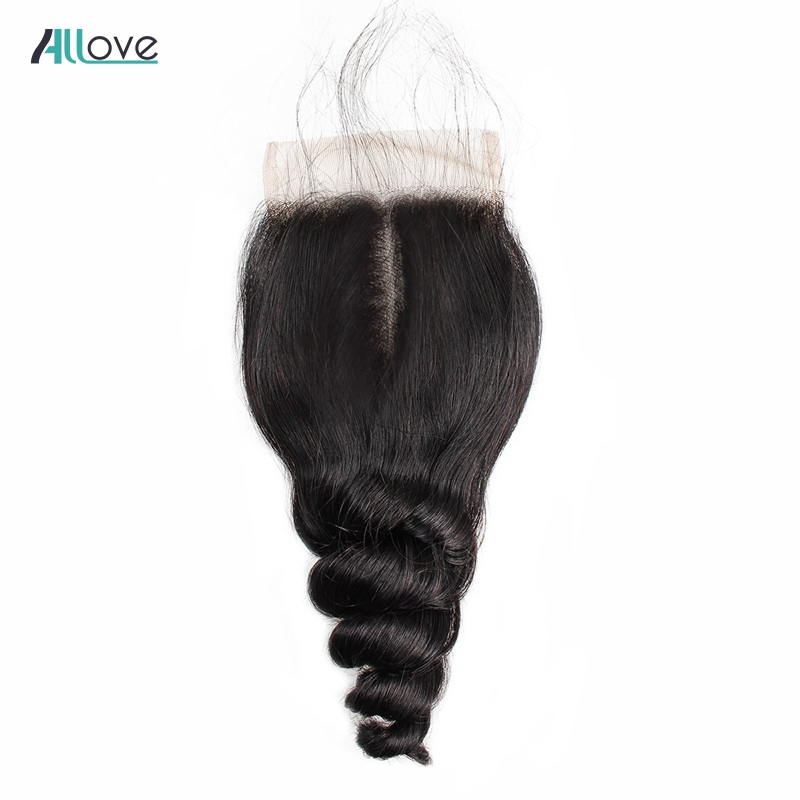 Allove Malaysian Loose Wave Closure 4*4 Lace Closure Middle Part 8-20Inch Non Remy Hair Extensions 100% Human Hair Lace Closure