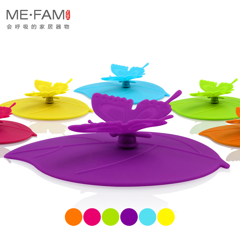 ME.FAM 1 Pieces Cute Fashion 3D Butterfly Leaves Silicone Cup Lid 10.5 Cm Seal Dust-proof Cover For Glass Ceramic Plastic Mug