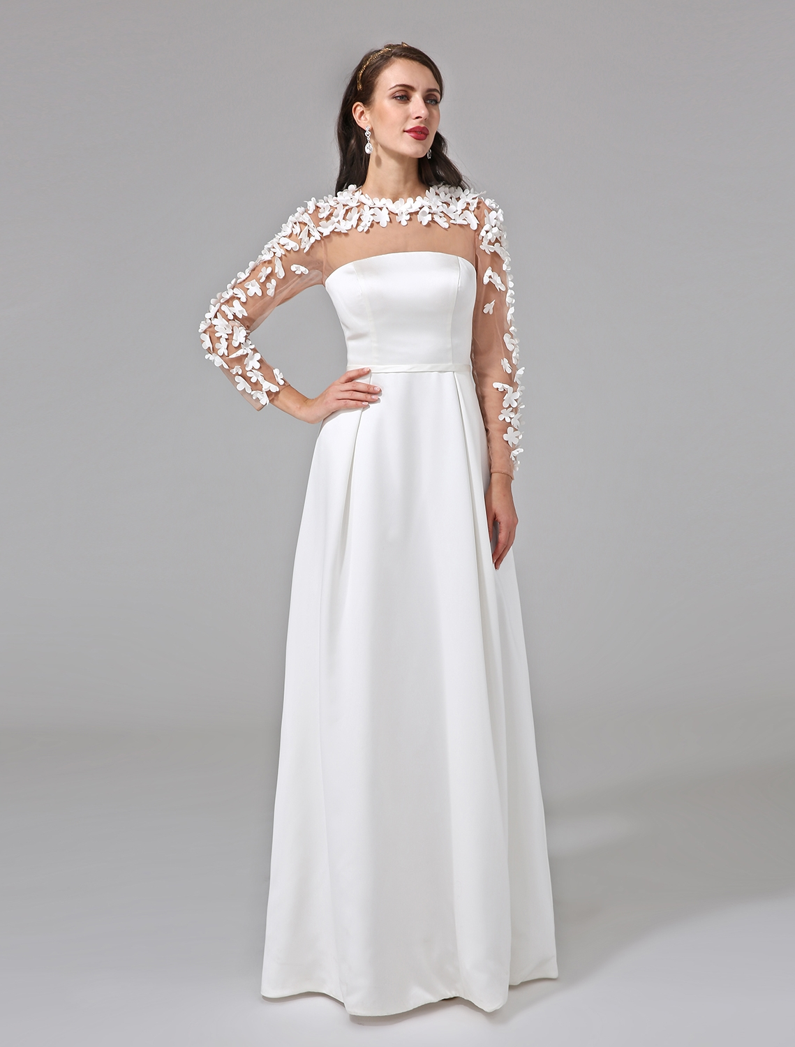 LAN TING BRIDE Illusion A-Line Wedding Dress Long Sleeves Charmeuse Bridal  Gown with Sashes Ribbon Button Flower f9ac897c2e92