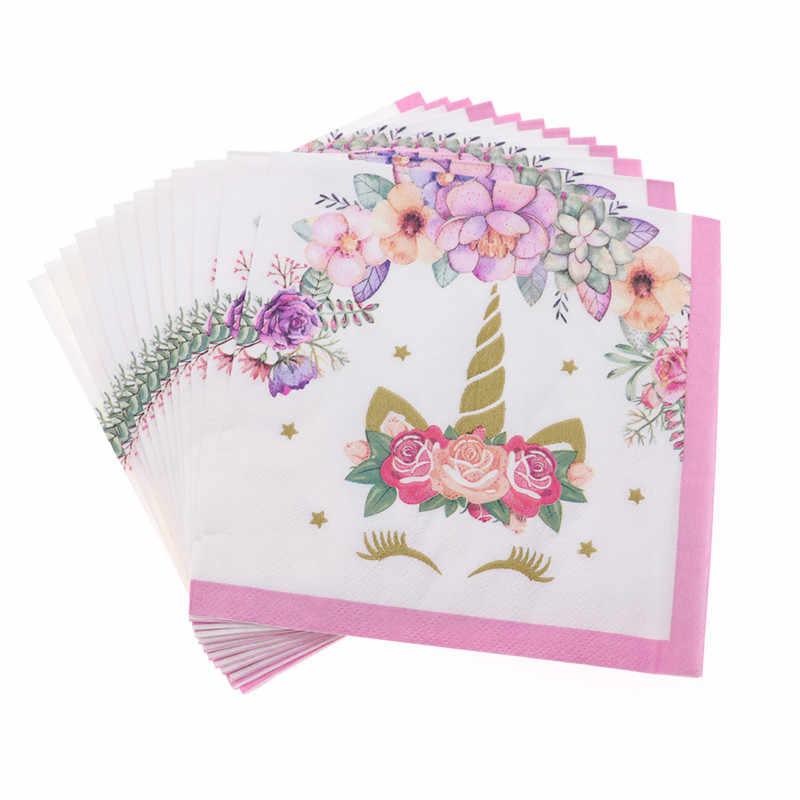 Unicorn Theme สีชมพู Party ผ้ากันเปื้อนแผ่นถ้วยฝักบัวอาบน้ำเด็กเทศกาลชุดชุดสำหรับสาวบ้านอุปกรณ์เสริม