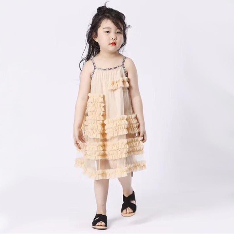 Bébé filles robe d'été nouveau style de l'europe fronde de mode robes de princesse pour enfants enfants mignon manches robe robe de soirée ws402 - 2