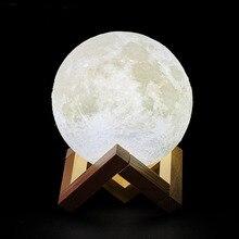 Прямая поставка; 3D принт Перезаряжаемые луна светильник светодиодный Ночной светильник творческий сенсорный выключатель луна светильник для Спальня украшения подарок на день рождения