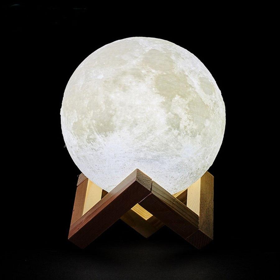 Dropship 3D Impressão Lua Lâmpada Recarregável Luz CONDUZIDA Da Noite Criativo Interruptor de Toque Luz Da Lua Para O Quarto Decoração Presente de Aniversário