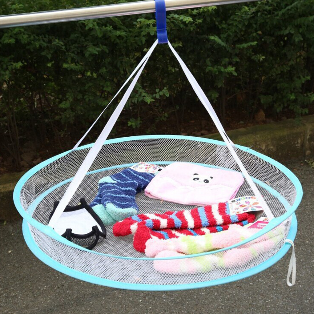 Super Useful S Hook Drying Rack Folding Hanging Clothes Laundry Basket Dryer Net 2 Styles