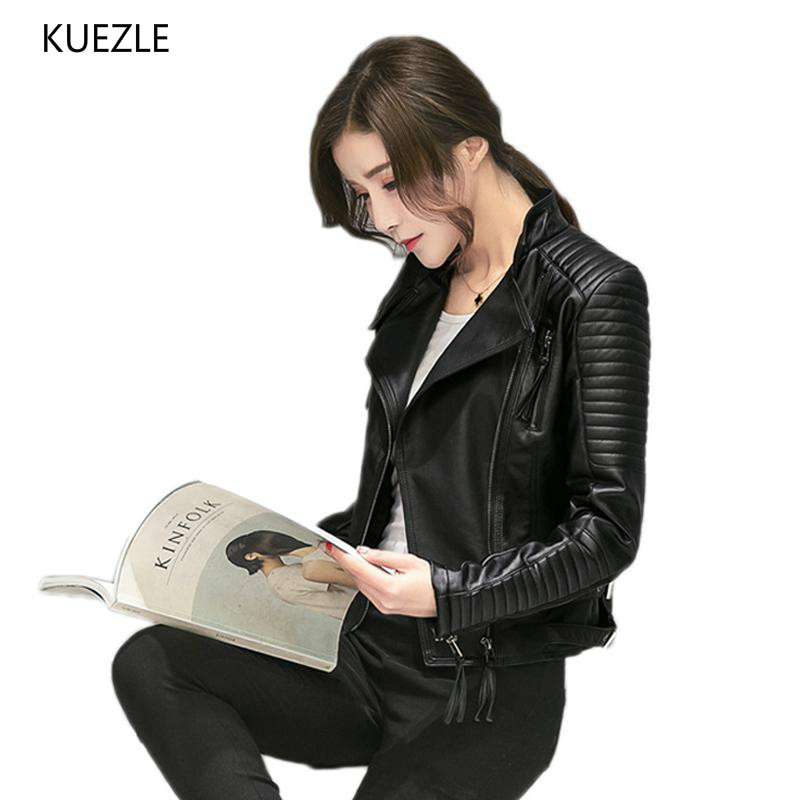 Women Spring Autumn PU   Leather   Jacket Casual Slim Soft Moto motorcycle Coat Biker Faux   Leather   Jackets Female Black Coats top