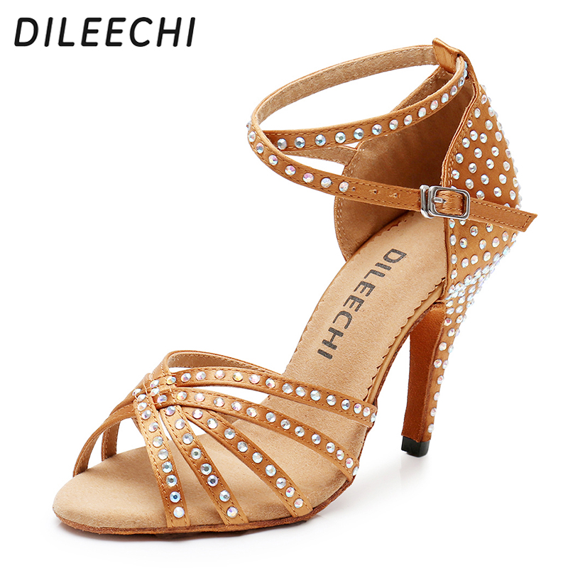 DILEECHI Bronze Black Satin Latin dance shoes Women Rhinestones Ballroom dancing shoes Salsa Party Sandal shoes high heel 10cm