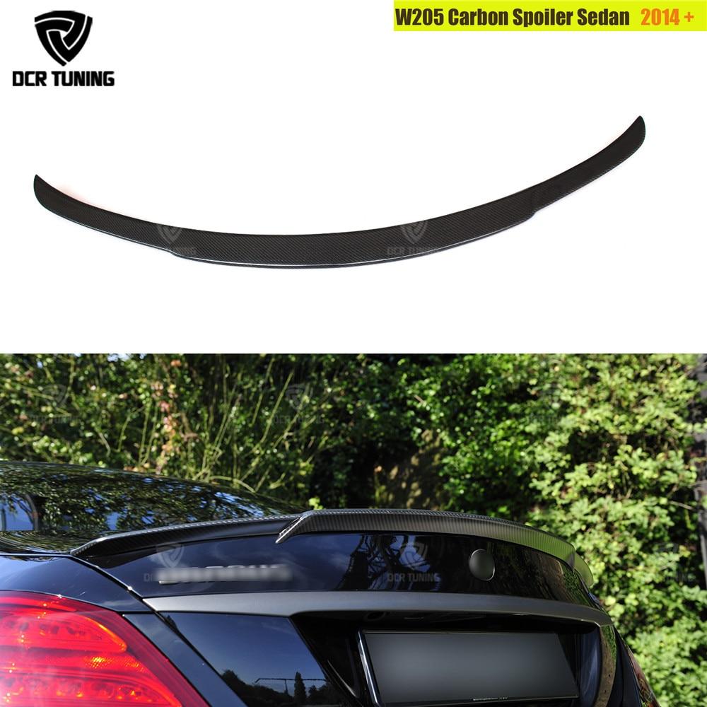 For Mercedes W205 Carbon Spoiler 4-Door Sedan C63 C180 C200 C250 C260 Carbon Fiber Rear Trunk Spoiler For Brabus Style 2014 - UP for mercedes w205 spoiler r style sedan c class c180 c200 c250 c260 w205 carbon fiber rear spoiler rear trunk wing styling 2014