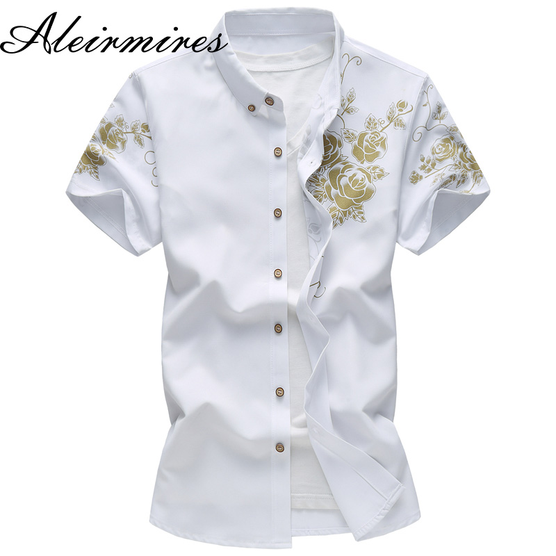 New Big Size Mens Cotton Shirt 2018 Summer Short Sleeve Gold Rose Printed Slim Fit Male  ...