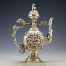 Chinese Vintage Handwork Silver Copper Dragon Tea Pot