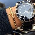 1 pcs Anil Arjandas Marca men bracelet Pave Definir CZ Preto Escudo Conector com 4mm Rodada Talão Trança Homens Pulseira de macramé