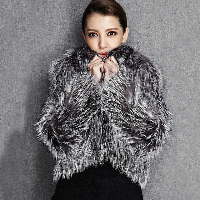 2015 New Arrival 100% Natural Silver Fox Fur Knitted Coat, Women's Real Fox Fur Outerwear SU-1521 EMS Free Shipping 1