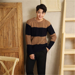 100% hand made pure wool Oneck knit men fashion solid loose contrast color striped pullover sweater one&over size