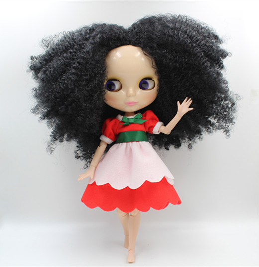 Blygirl Blyth doll Black explosion curly hair nude doll 30cm multi-joint body joints can be rotated DIY doll can change makeup