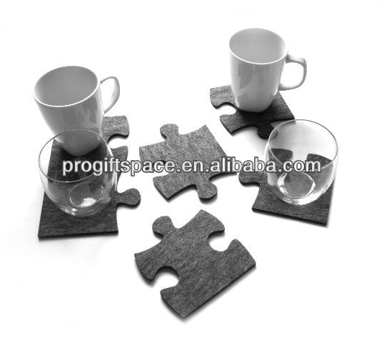 Free Shipping 12pcs 2016 New Fashion Laser Crafts <font><b>Grey</b></font> Felt Puzzle Glass <font><b>Cup</b></font> Drink Coaster Home Bar Decor Kitchen Accessories