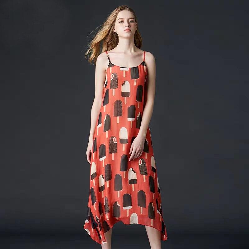 2019 Весна Лето Женское платье без рукавов 100% шелк сексуальное яркое шелковое подтяжки с открытой спиной длинное платье высокого качества Бе