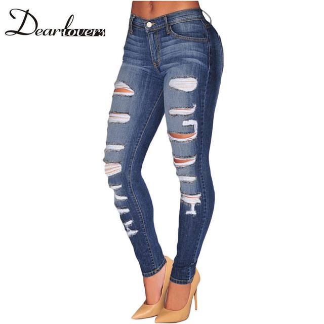 Caro amante Mulheres Calça Jeans Destruído Novo 2017 senhoras Jeans Luz Jeans Rasgados Lápis Azul Denim Whisker Lavagem jeans skinny LC78648