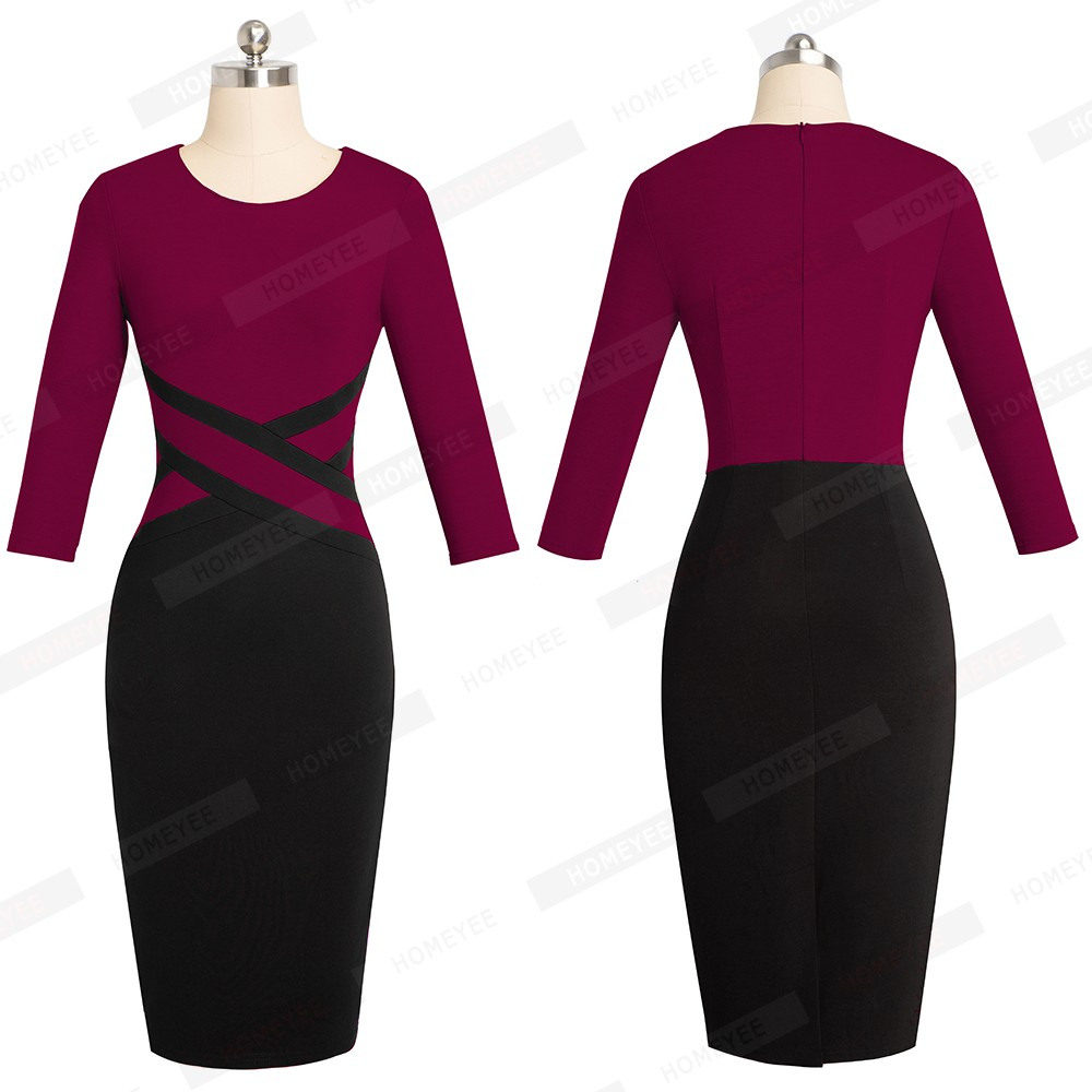 Lady Patchwork Contrast Autumn Casual Business Office Dress Work Elegant Three Quarter and short Sleeve Bodycon Dress EB463 21