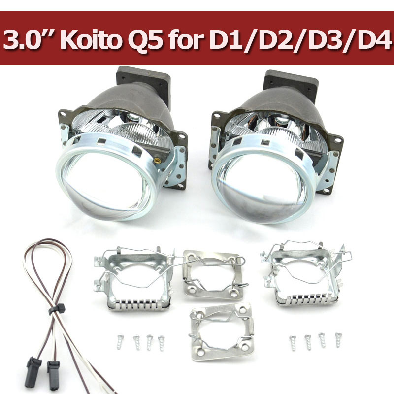 Free Shipping Hid Bi Xenon Projector Lens LHD for Car Headlight 3.0 Koito Q5 35W Can Use with D1S D2S D2H D3S D4S Super Bright