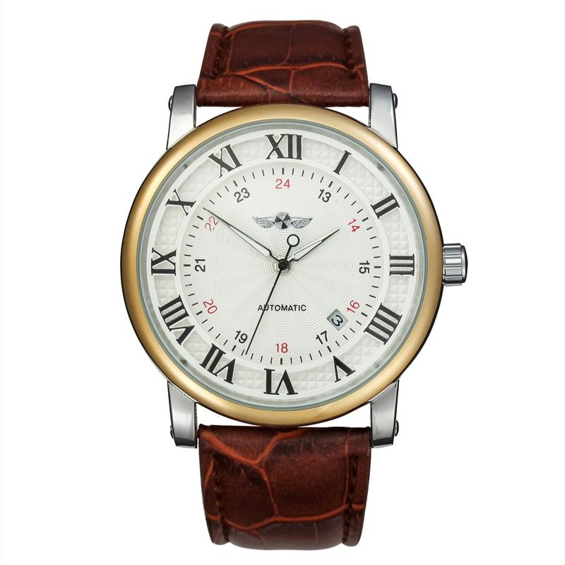 Winner Clock  Men Watches Business Mens Watches Men Watch Catual Automatic Mechanical Watch Leather Wristwatch relogio masculino clock