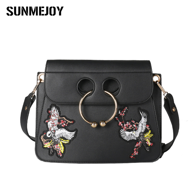 Sunmejoy Embroidered Inclined Bag Shoulder Las Hand Women Circle Design Handbag 2017 Woman Bags Handbags